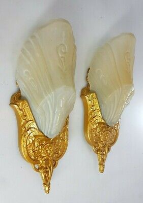 A Pair Of Genuine Vintage Art Deco Slip Shades Wall Sconces,Antique Light Shade