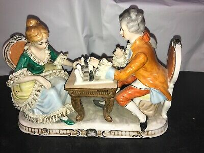 Rare Vintage Dresden? Porcelain And Lace Figurine Of Couple Playing Chess