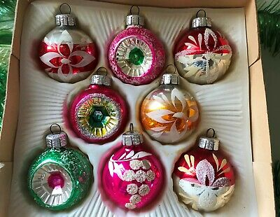 8 x Vintage Christmas Tree Decoration Glass Baubles Indent Ornament WEST GERMANY