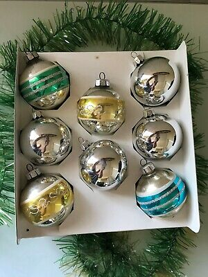 8 x Vintage Boxed Christmas Tree Decoration Glass Baubles Ornament MADE ROMANIA