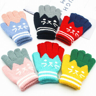 Mittens Gloves Boys Girls Assorted Colours Winter Warm Full Finger Glove Gift