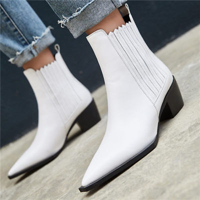 Women White Black Cow Leather Pointed Toe Chelsea Ankle Boots Low Heel Oxfords