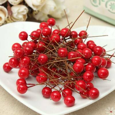 100Pcs Artificial Red Holly Berry Berries 10mm Home Garland Christmas Decoration