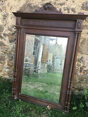 Large French Antique Bevelled Wall Mirror Carved Oak