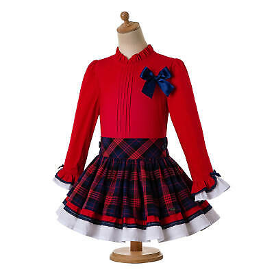 Girls Kid Christmas Red Bow Long Sleeve Tops Tartan Plaid Spanish Skirt Headband