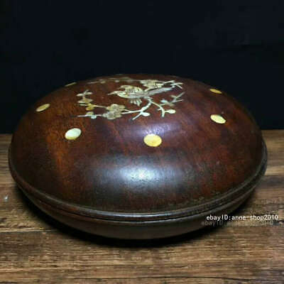 19.5cm Marked China Rosewood Wood Carving Storage box inlay shell Box AHHH