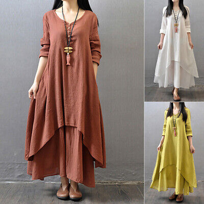 women Dress Ginger Brick Red loose peasant fall Boho 2019 high quality