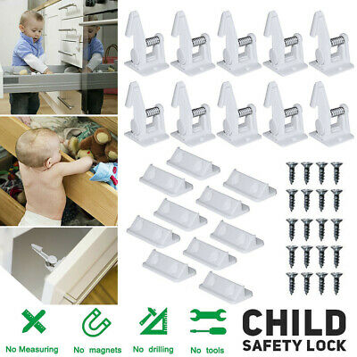 10PCS Baby Safety Home Cabinet Locks Invisible Child Kids Proof Cupboard Drawer