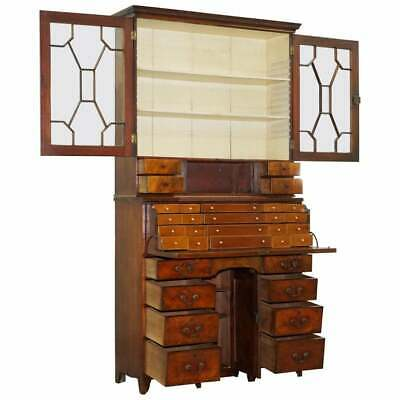 Rare 33 Drawer Circa 1780 George Iii Mahogany Secretaire Bookcase Desk Bureau