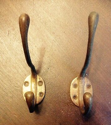 A Pair Of Antique / Vintage Brass  Coat Hooks
