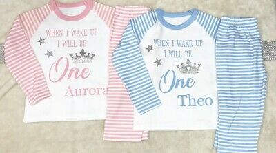 When I Wake Up I Will Be One Birthday Pyjamas 1st Up To 9Yrs  OR YOUR TEXT HERE