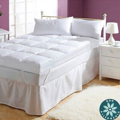 """Luxury 5"""" Duck Feather & Down Mattress Topper Protector Under Blanket Super King"""