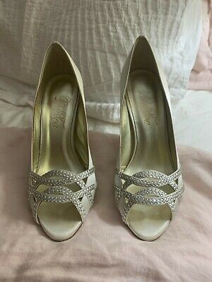 Women's size 38 wedding shoes formal diamante peep toe genuine brand still boxed