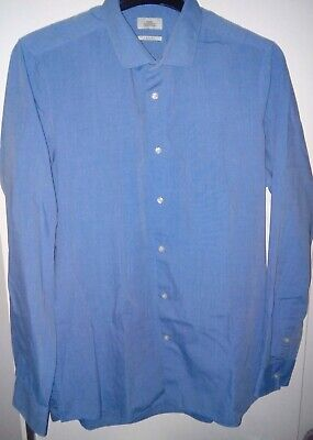 Next Mens Shirt Long Sleeve Slim Fit Light Blue Office Formal Wear Size 16.5 Vgc