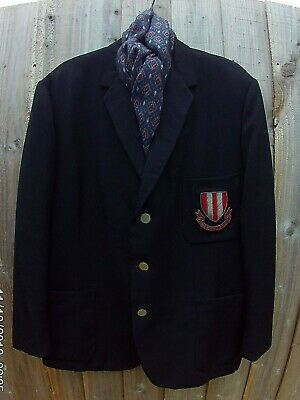 Men's Vintage Worsted Blazer With Bullion Patch On Breast Pocket Chest Size 44''