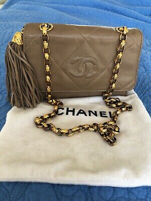 Auth CHANEL CC Coco Logos Quilted Tassel Chain Shoulder Small Bag