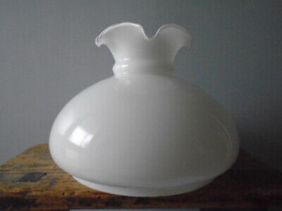 Vintage Milk Glass Oil Lamp Shade or Cowl with Frill Edge - 17cm high
