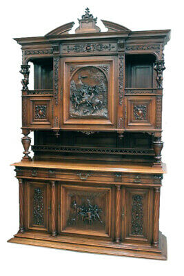 Outstanding Antique French Jester Cabinet, Walnut, 19Th Century