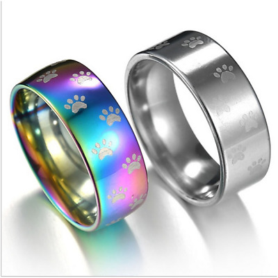 Cat Dog Paw Ring Stainless Steel Rainbow Anime Pet Finger Rings Gift LADPM Nice