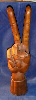 Vintage Huge 1960s Carved Wood Peace Hand 2 Feet Tall! Psychedelic Collectibles