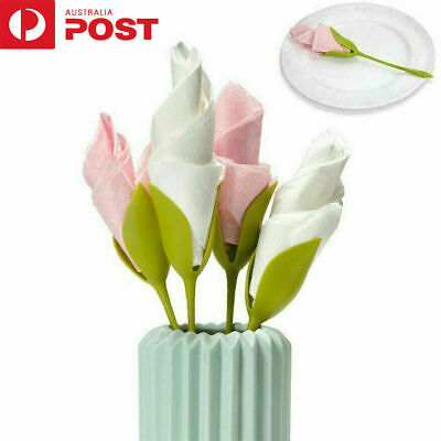 12Pcs Bloom Napkin Holders - Flowers Floral Green Design for Table Decoration XD