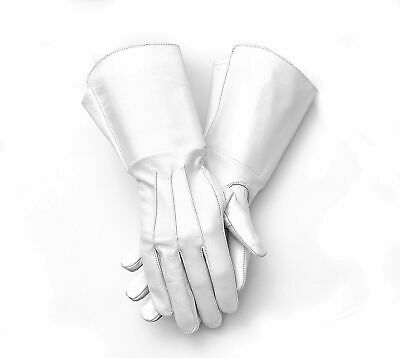 Men's Medieval Renaissance Gauntlet cosplay Leather Gloves Long Arm Cuff (white)
