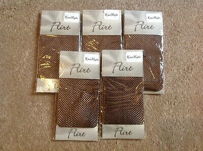 5 X PAIRS Breathable Fishnet Stockings Knee High Net Sock BROWN Mesh Socks