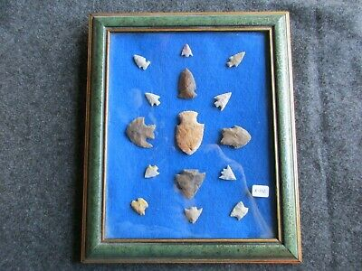 Native American Arrowheads, 15-Ct Set, Collector Mounted & Framed Set, Chi K-392