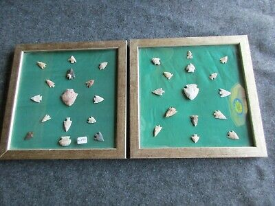 Native American Arrowheads, 30-Ct Set, Collector Mounted & Framed Set, Chi K-197