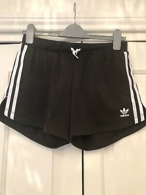 Adidas 3 Stripe Shorts For Girls In Black, Size 14-15 Years