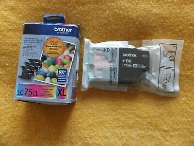 4 Genuine Brother LC75XL Black Magenta Cyan Yellow ink Cartridges EXP: 2021 NEW