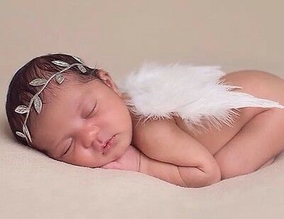 Girls Newborn Baby White Angel Wings Leaf Headband Photo Photography Prop SET