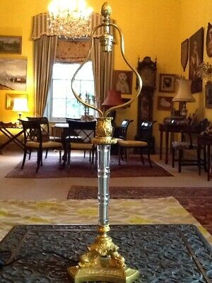 Antique French Empire Gilt Glass Column Table Lamp & Pleated  Chiffon 50's Shade
