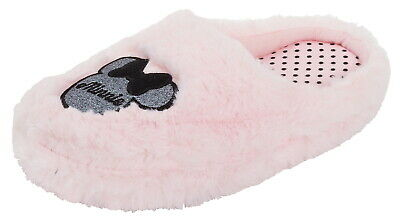 Girls Disney Minnie Mouse Glitter Mule Slippers Teens Fluffy Slip On House Shoes
