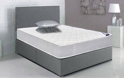 Panana 3ft 4ft6 5ft Grey Fabric Divan Bed Headboard or With Mattress Option