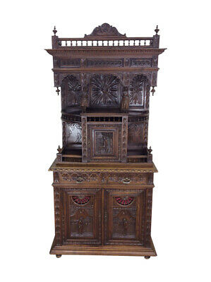 Antique French Breton Cabinet, Oak, 1900'S, Great Carvings
