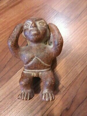 Antique Mesoamerican Clay Pottery Sculpture Figure Man Holding Pot Vessel