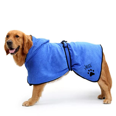 Personalised Dog towel/Dog robe, hooded paw print design, towel, wet dog,