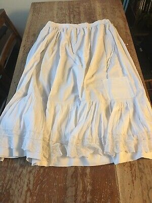 Antique Cotton And Lace Victorian Petticoat Edwardian White Cotton Shabbychic M