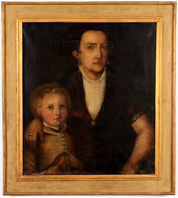 19th Century Antique Folk Art Americana Signed Mother Son Portrait Painting