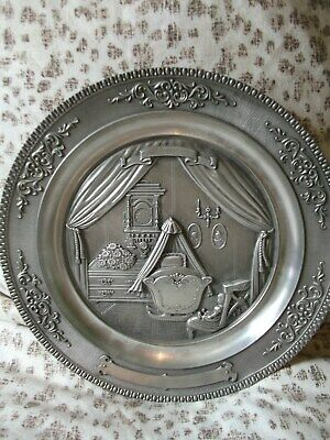 Antique WMF Zinn 8' pewter hanging plate fea baby cradle in relief - Angel mark