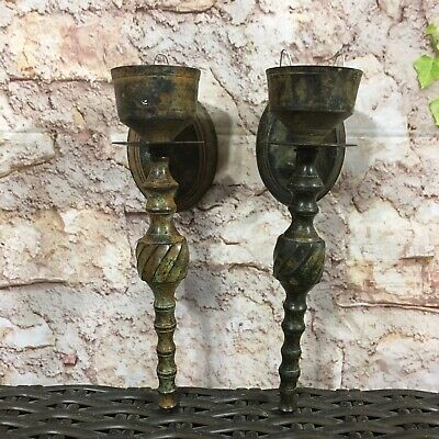 Vintage Cast Iron Wall Sconce Candle Holder Pair Medieval Style Antique