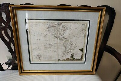 1774 Hand-Colored Engraved MAP OF THE AMERICAS By ANTONIO ZATTA Framed