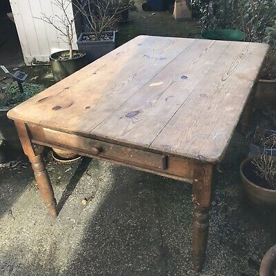 Large solid pine carved Victorian dining table with drawer