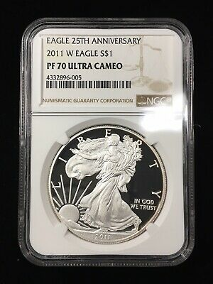 2011-W PROOF SILVER EAGLE 25th ANNIVERSARY - NGC PF70 ULTRA CAMEO - BROWN LABEL