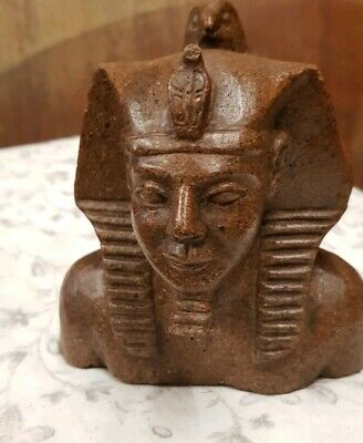 Vintage 1920s Carved Granite Pharaoh Head