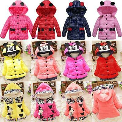 Toddler Baby Girls Cartoon Mouse Hoodie Jacket Coat Clothes Winter Warm Outwear