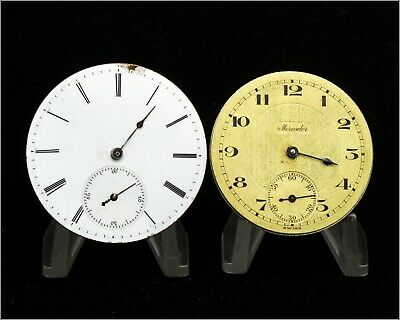 Two Antique Key Winding & Mercador Swiss Movements / Dials for Pocket Watches