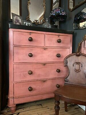 "Beautiful Victorian Mahogany ""French Painted"" Scandinavian Pink Chest Of Drawers"