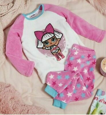LOL Surprise Doll Girls Winter Fleece Pyjamas Soft PJS SET Nightwear Primark New